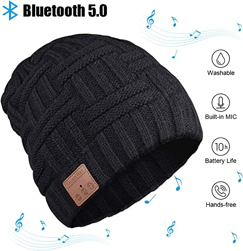 Bluetooth Beanie, Bluetooth Hat, Men s Gift Bluetooth Hat 5.0, Wireless Earphone Beanie Headphones with HD Stereo Speakers Built-in Microphone, Electronic Christmas Birthday Gifts for Men Women
