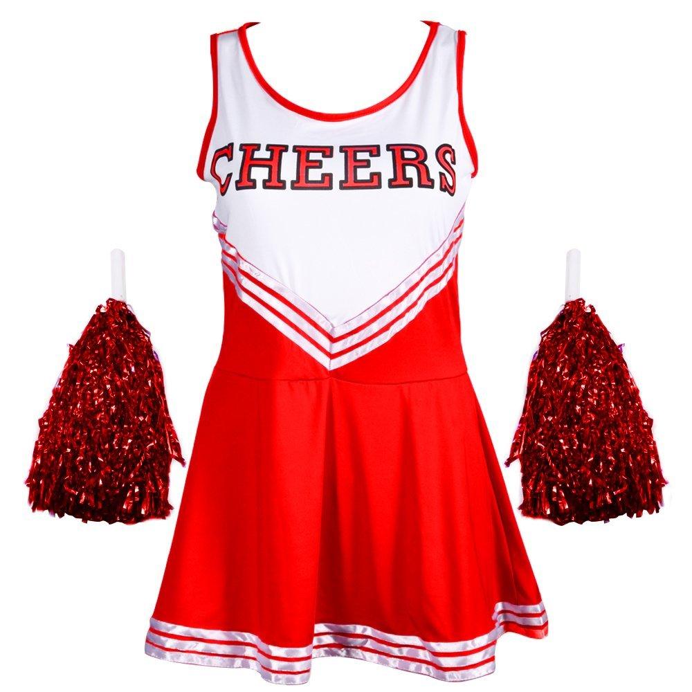 Femmes redstar MENEUSE DE Claques Costume avec Pompons - Costume Déguisement Sport High School Musical Costume Halloween - 6 Couleurs/Taille 6-16 UK_CAS0463-CAS046824