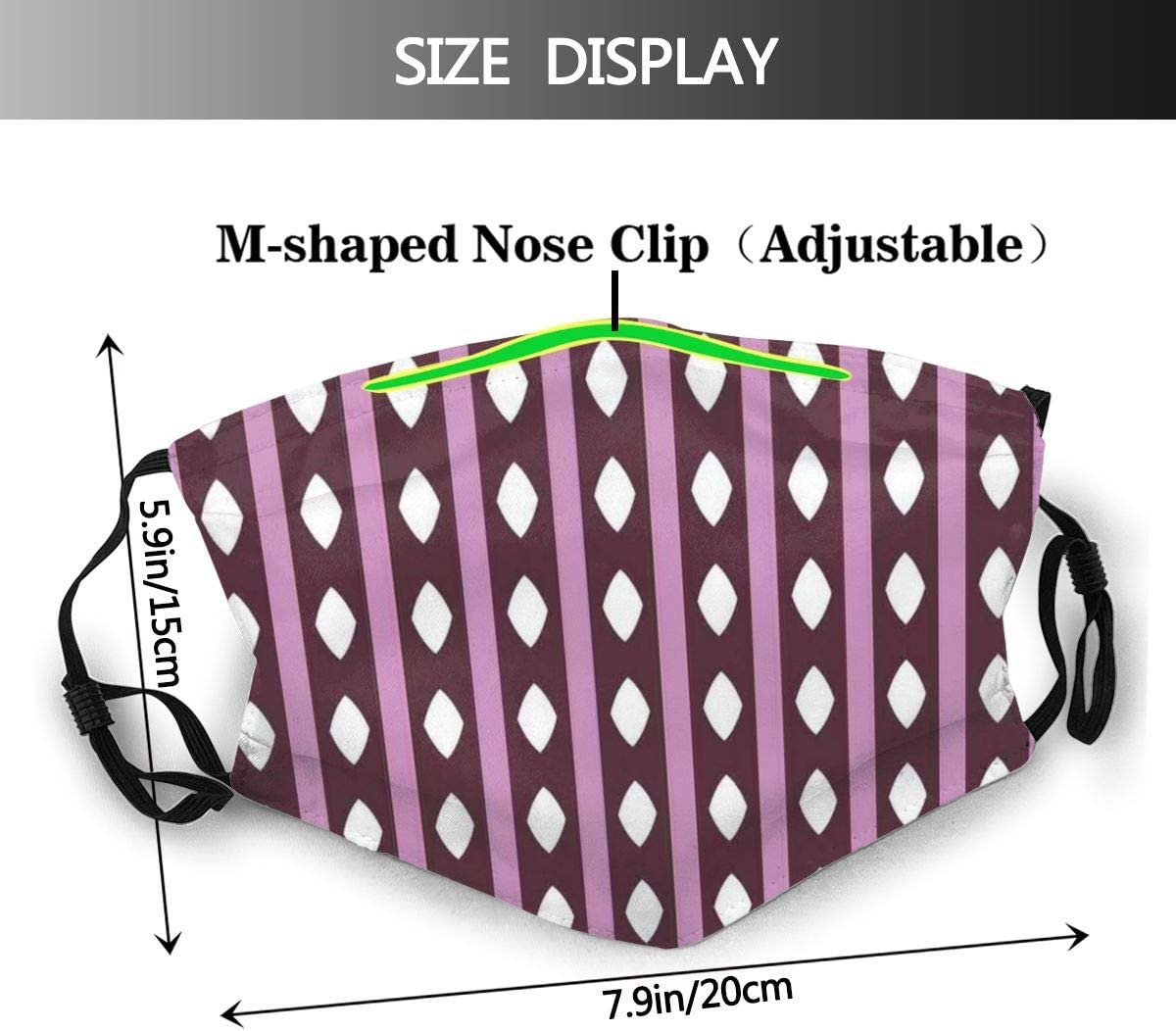819 SFKKL Ethnic Style Soft Purple Toning Parallel Stripes and Diamond Shapes Dust Washable Reusable Filter and Reusable Mouth Warm Windproof Cotton Face