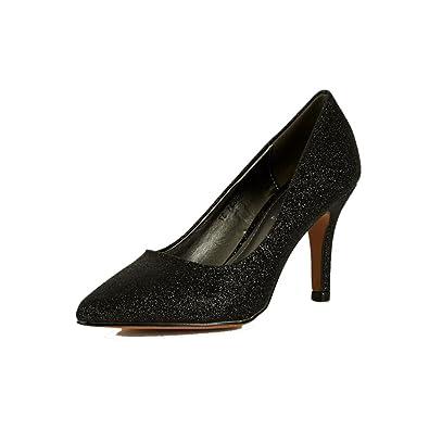 SendIt4Me Black Low Wedge Heel Pointy Toe Court Shoes qpyhd1N45