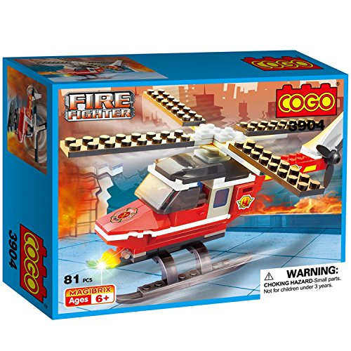 COGO 3904 Fire Rescue Helicopter with Fireman Doll Spinning Propeller Heli Blade Vehicle Compatible Building Blocks Set 81 - Ferrari Model Latest