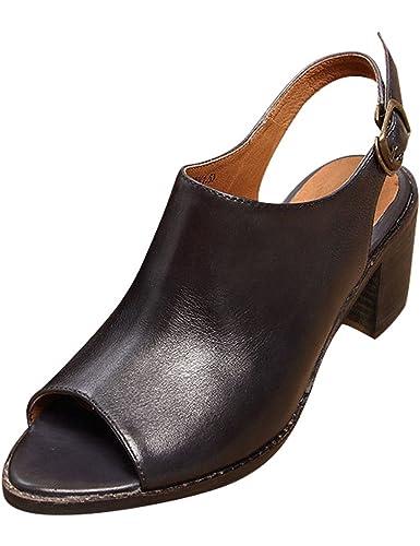 c4f71df51afbd7 Youlee Damen Sommer Hochhackige Sandalen Leder Schuhe Deep Grey EU 34-34.5