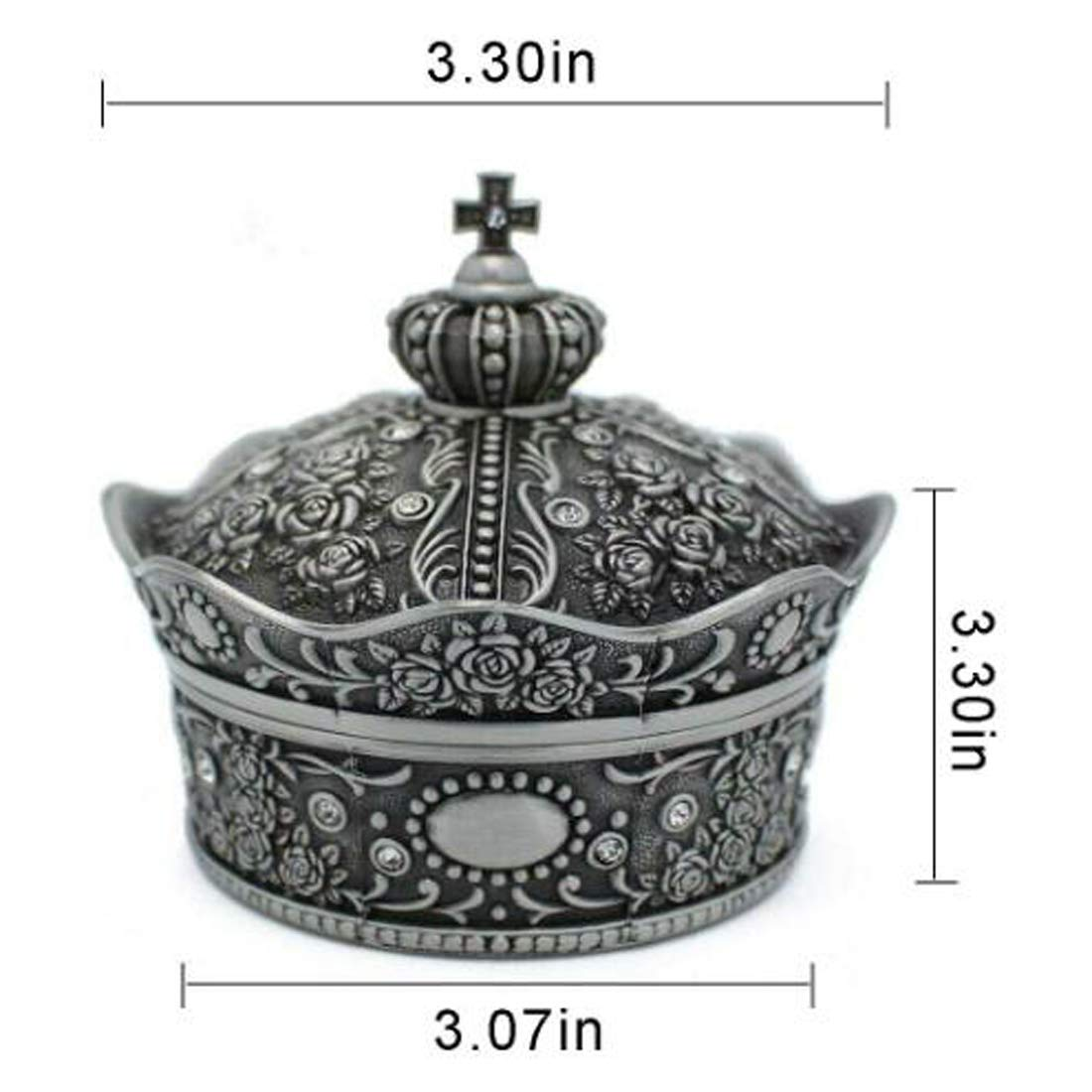 leiqin Vintage Flower Carved Metal Large Crown Jewelry Box Trinket Box Tin Alloy Ring Case