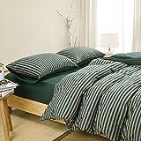 Duvet Cover Set King Size 4 Pcs Set (1 Duvet Cover, 1 Flat Sheet, 2 Pillowcases) Bedding Set Comfortable Pillow Shams Breathable- Dark Green Stripe