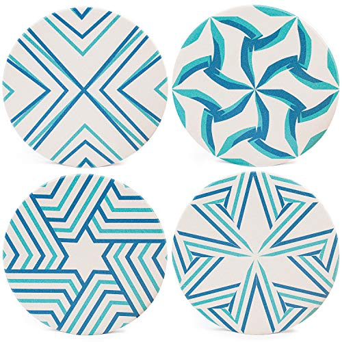 COACOR Absorbent Ceramic Drink Coasters, Set of 4, Prevents Furniture and Tabletop Damages, Absorbs Spills and Condensation, Turquoise - Blue