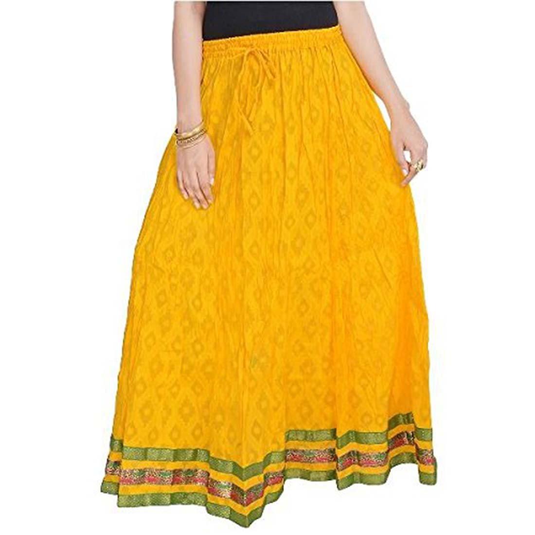 Indian Handicrfats Export Women Rajasthani Yellow Cotton Skirt (Yellow)(SMSKT602)
