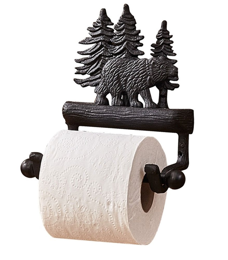 Park Designs Black Bear Toilet Paper Holder - Lodge Decor