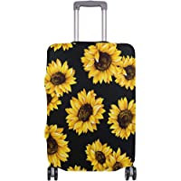Luggage Cover Sunflower Black Suitcase Protector Travel Luggage 18-32 Inch