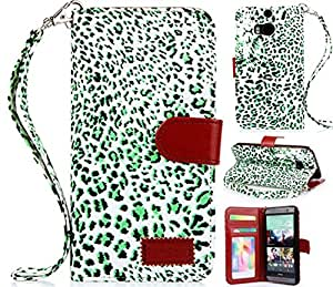 HTC One M8 cases,HTC One M8 Case, HTC One M8 Leather case, Leopard Wallet PU Leather Case Flip Cover Built-in Card Slots & Stand for HTC One M8