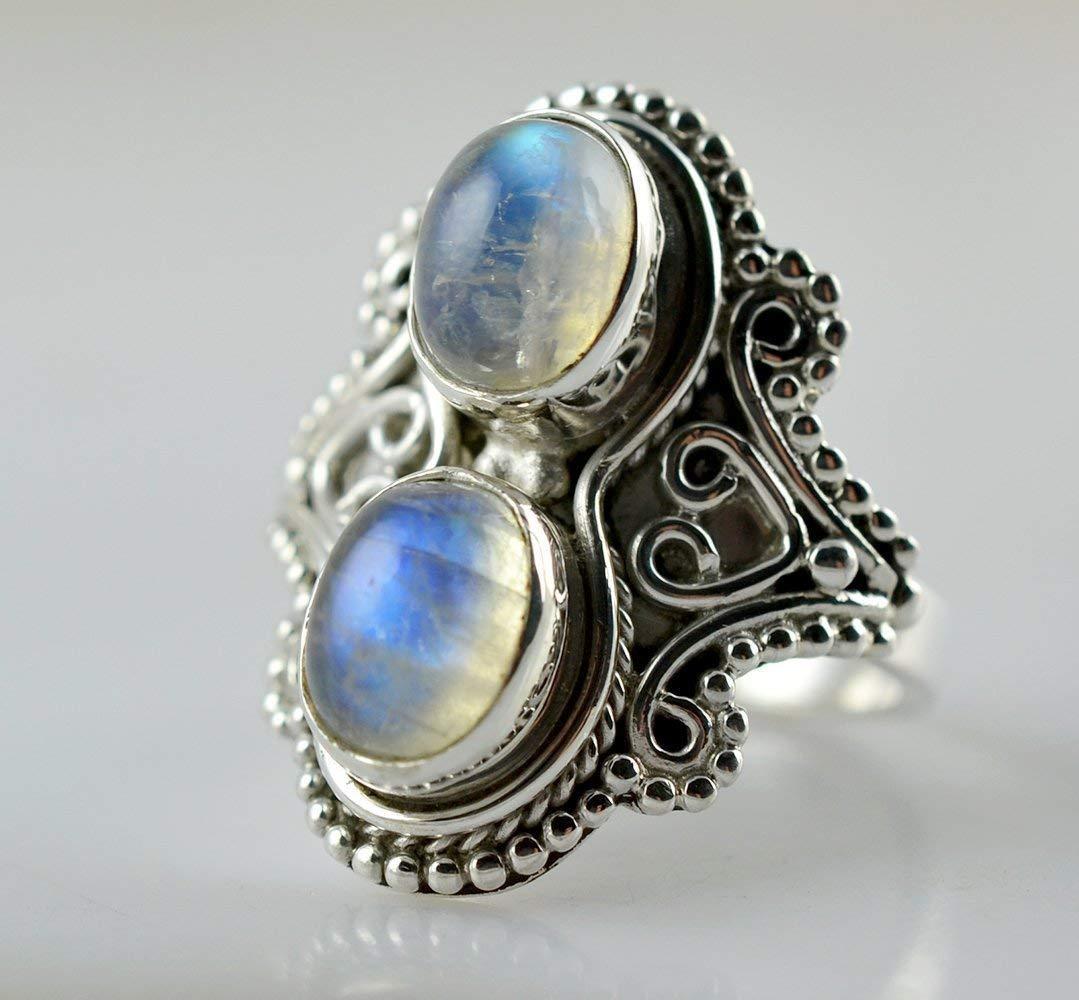 bijoux faits /à la main argent sterling 925 Rainbow Moonstone Silver Ring bague Moonstone Pierre de lune arc-en-ciel bague en argent taille 44 /à 68 FR