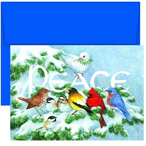 Branch Holiday Cards - Masterpiece Studios Holiday Collection Boxed Cards, Birds on Branch, 18 Cards/18 Envelopes