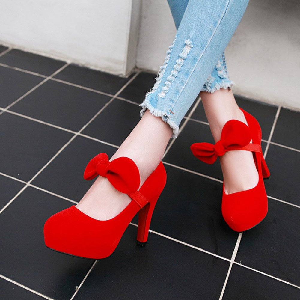 043ebd34e5f63 Amazon.com: N.Y.L.A. XUERUI Sexy Round Single Shoes Female Bow Red ...