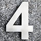 QT Modern House Number - EXTRA LARGE 10 Inch - Brushed Stainless Steel (Number 4 Four), Floating Appearance, Easy to install and made of solid 304
