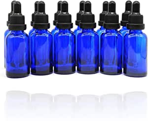 Yizhao 1oz Blue Glass Dropper Bottles for Essential Oils, with [Glass Eye Dropper],for Aromatherapy,Massage,Cosmetic Perfumes, Laboratory, Chemicals–12 Pcs