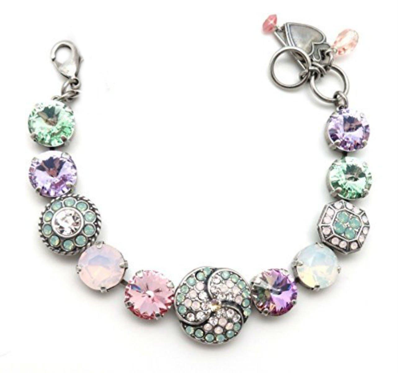 Mariana Silver Plated Swarovski Crystal Bracelet Green & Pink Rivoli Mosaic 1063 Pina Colada