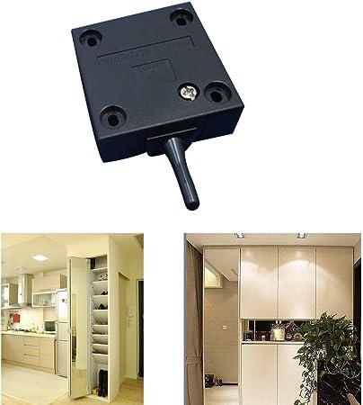 FUJIE Interruptor de la puerta Empuje de superficie Interruptor de contacto para puerta de mueble Iluminación Interruptor automático 2A 250V la luz de puerta del interruptor del empuje Negro: Amazon.es: Bricolaje y