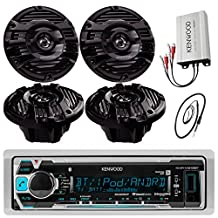 "New Kenwood Marine Boat Yacht Bluetooth Digital USB AUX iPod iPhone AM/FM Radio Stereo Player With 4 X 6.5"" Inch Kenwood Marine Audio Speakers Kenwood KAC-M1804 Compact 4-channel Marine Amplifier And Enrock Marine 45"" Antenna - Complete Marine Outdoor Audio Package (Black)"