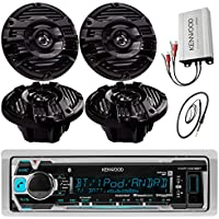 Kenwood KMR-M315BT Marine Digital Media Receiver with Built-in-Bluetooth Bundle with 4 X 6.5-Inch 2-way Marine Boat Speakers 400 Watts, 4-Channel Amplifier And Enrock 45-Inch Marine Antenna