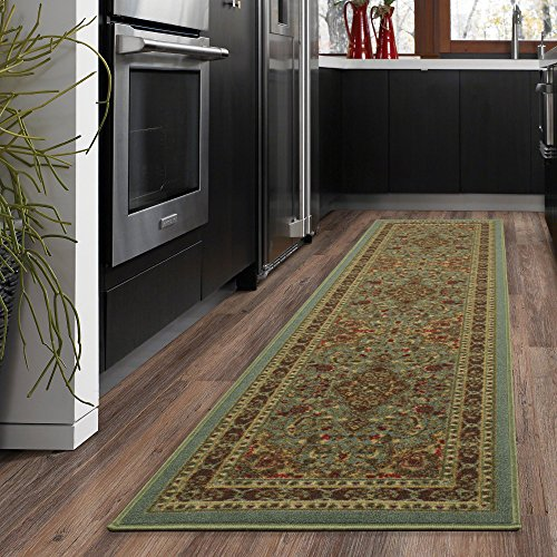 Sage 2'6 X 10' Runner - Ottomanson Ottohome Persian Heriz Oriental Design Runner Rug with Non-Skid Rubber Backing Area Rug, 20