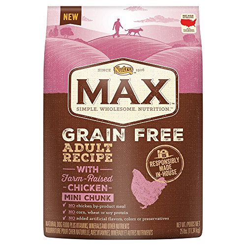 NUTRO MAX Grain Free Adult Recipe With Farm Raised Chicken Mini Chunk Dry Dog Food; (1) 25-lb. bag, Rich in Nutrients and Full of (Canine Plus Chicken)