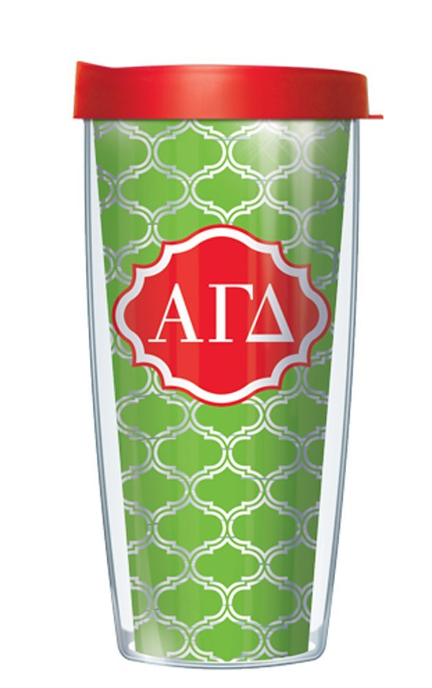 Alpha Gamma Delta on Clear Roundabout Traveler 16 Oz Tumbler Mug with Red Lid Signature Tumblers