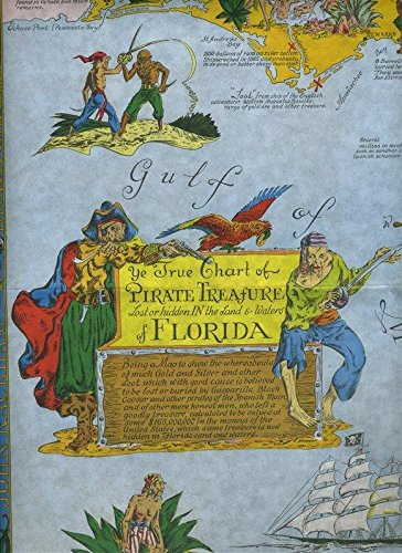 Rocky Point Beach Restaurant Pirate Treasure Map Menu Tampa Florida 1950 -