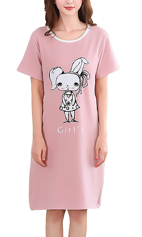 Pijamas Mujer Tallas Grandes Verano Elegante Manga Corta Cuello Redondo Lindo Patrón Print Vestido Pijama Confort Ropa Dama Moda Fashionista Anchas Casuales ...