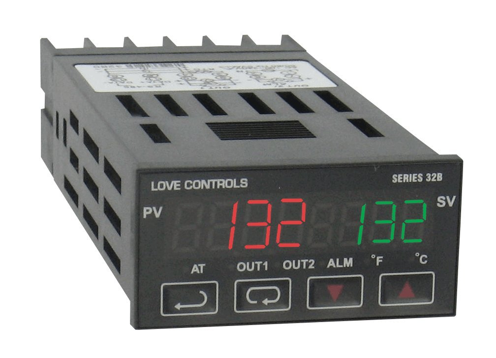 Love 1/32 DIN Temperature/Process Controller, 32B-63, Linear Voltage Output 1 and Relay Output 2