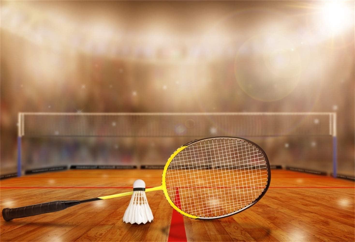 10x7ft Badminton Stadium Backdrop Vinyl Photography Background Badminton Racket Bokeh Sports Spectator Seats Badminton Match Athlete Children Kids Adult Portrait Shoot Video Studio Props