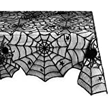 """DII 54x72"""" Rectangular Polyester Lace Tablecloth, Black Spider Web - Perfect for Halloween, Dinner Parties and Scary Movie Nights"""