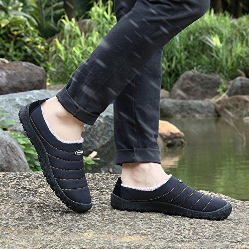 SITAILE Women Men Outdoor Indoor Slippers Fur Lined Waterproof Slip On House Winter Slipper Shoes Ankle Snow Boots Black,44 by SITAILE (Image #7)