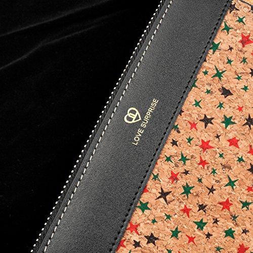 Vegan Cork Slim Vintage Shinmax Natural Zip Purse amp;Men Cork Wallet Backpack Star For Women q1CW4