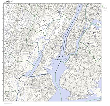 Jersey City Nj Zip Code Map.Amazon Com Jersey City Nj Zip Code Map Not Laminated Home Kitchen
