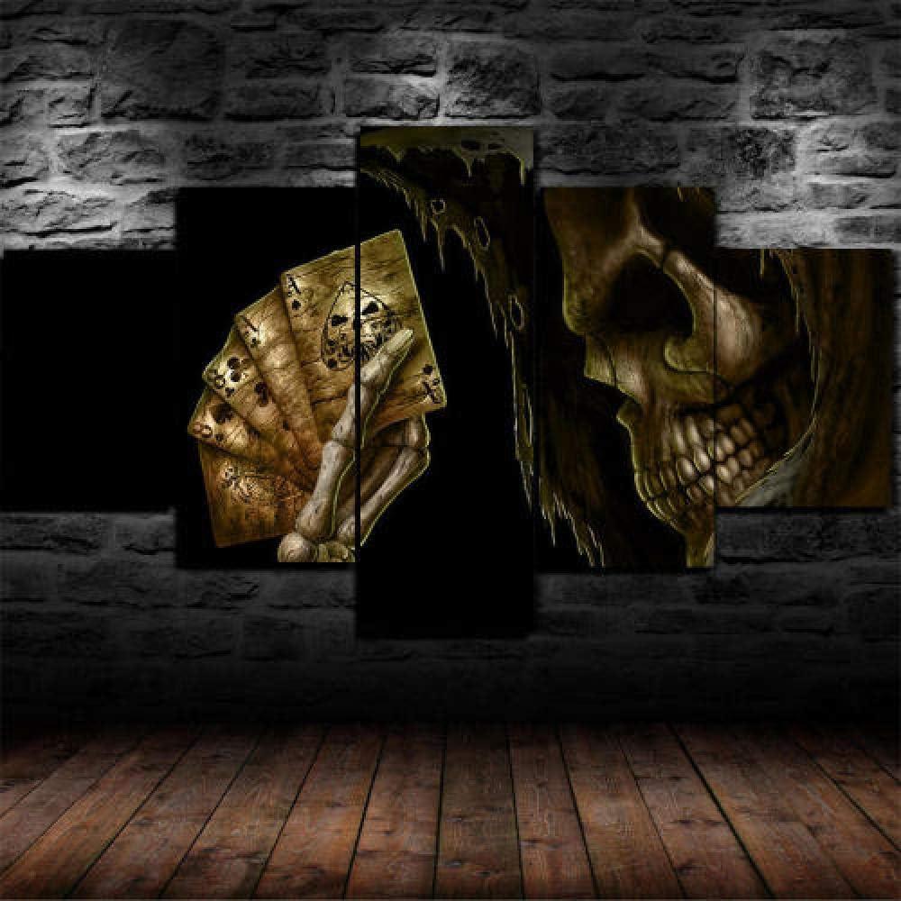 13Tdfc Cuadros Impresos En Lienzo Que Brillan En La Oscuridad 150X80Cm - 5 Piezas -Baraja De Cartas De Póker De La Mano del Hombre Muerto- Premium Lienzo De Tejido No Tejido XXL