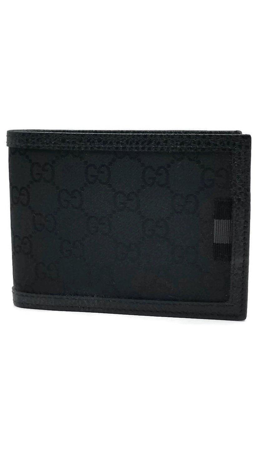 e6fc710c9d6f Gucci Men's Smooth Black Canvas Web Tab GG Guccissima Bifold Wallet ...