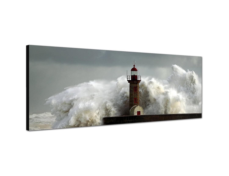Telaio Immagine murale 150x 50cm Mare tempesta onda faro Augenblicke Wandbilder