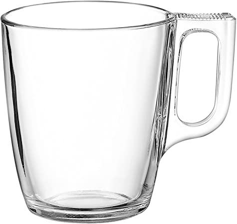 Voluto Glass Coffee Cups 8.8oz 250ml Set of 6 Thermal Resistant Glass Mugs for Hot Beverages