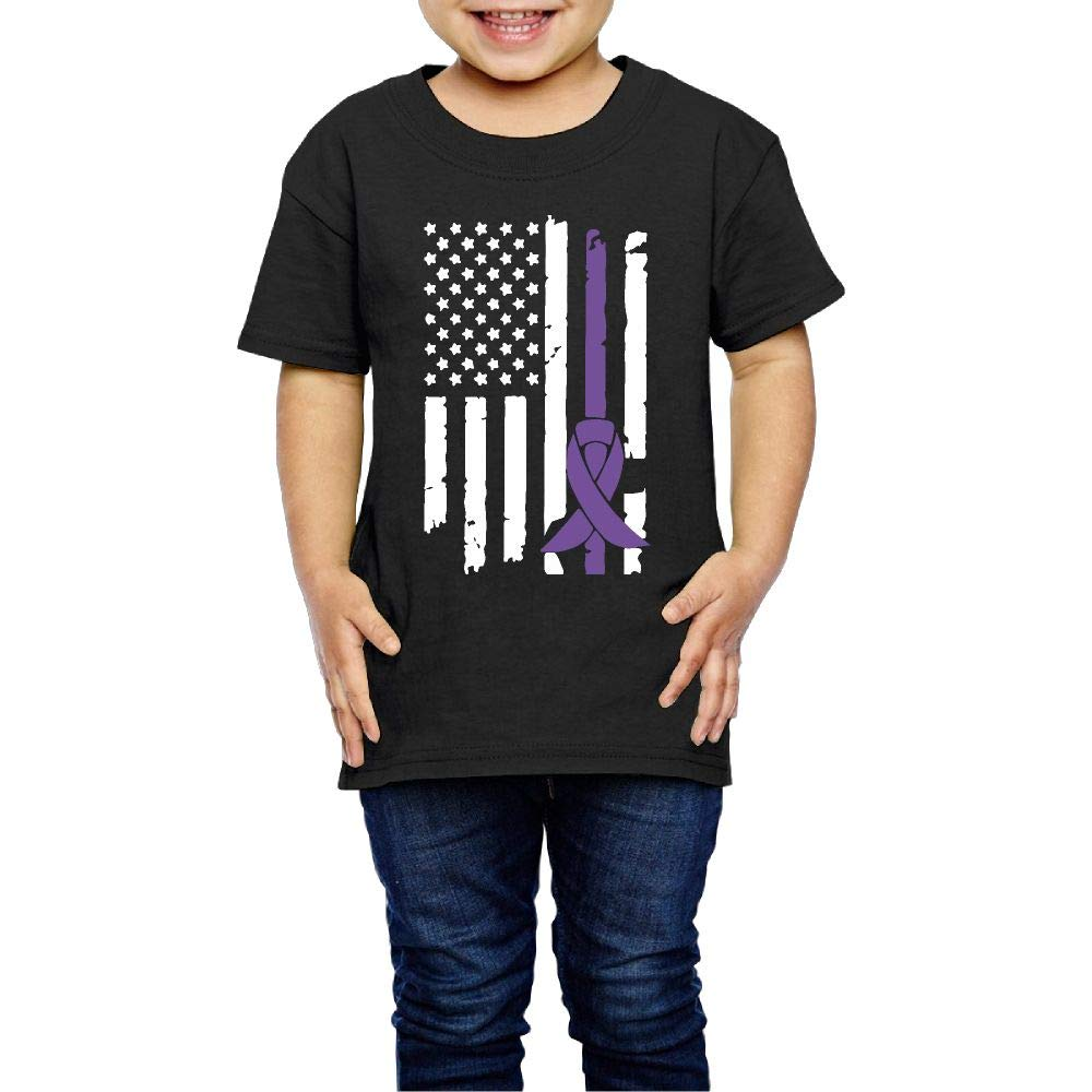 XYMYFC-E Pancreatic Cancer Awareness USA Flag 2-6 Years Old Child Short-Sleeved T-Shirt