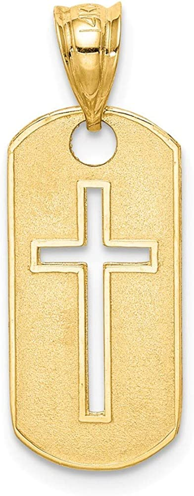 FB Jewels Solid 14K Yellow Gold Polished Cross Cut-Out Pendant