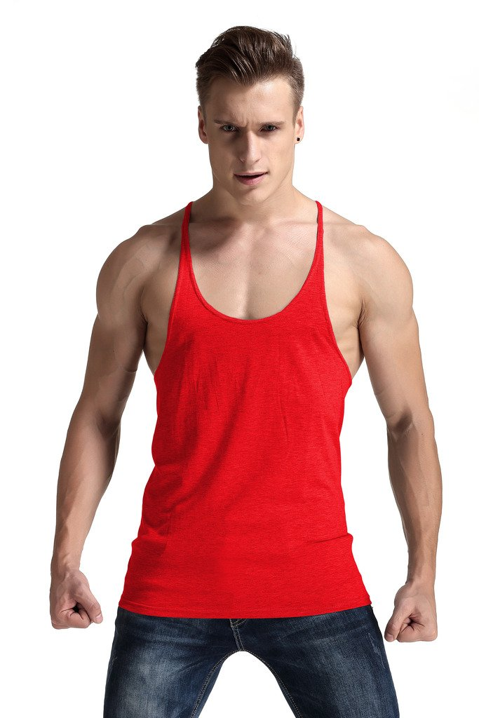 YAKER Men's Power Lifting Bodybuilding Stringer Y-Back Gym Tank Tops Red Small