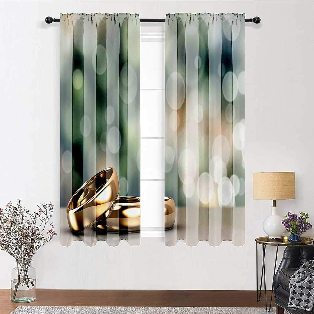 Kitchen Curtains Wedding Decorations Full Light Blocking Drapery Panels Two Wedding Engagement Rings on Bokeh Abstract Background Bedroom and Living Room Curtains 2 Rod Pocket Panels, 52
