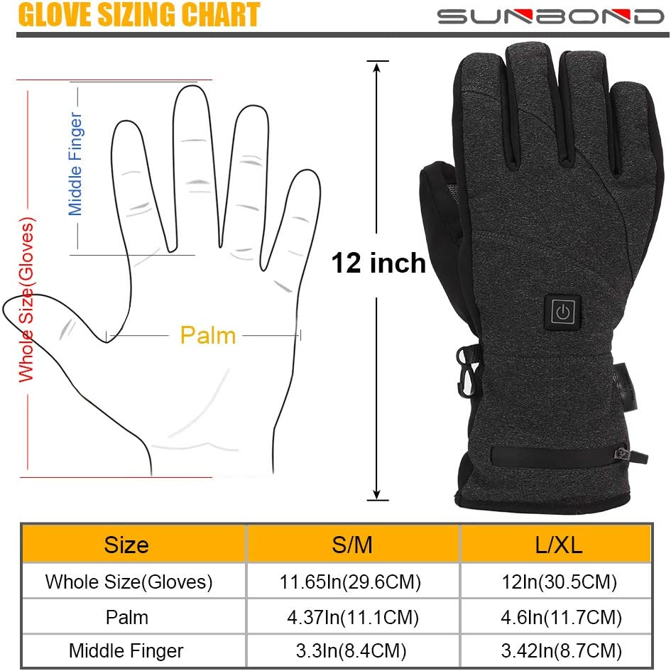 Sunbond Heated Gloves 3.7V Rechargeable Battery Electric Heated Gloves Washable Temperature Adjustable for Outdoor Riding Fishing Skiing Hiking Camping
