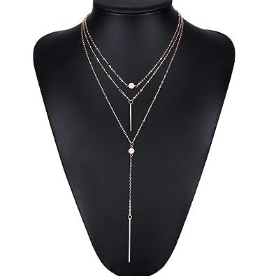 Amazon tomtosh women necklaces pendants 3 multi layer tomtosh women necklaces pendants 3 multi layer necklace tassel charm bar statement necklace for women mozeypictures Choice Image