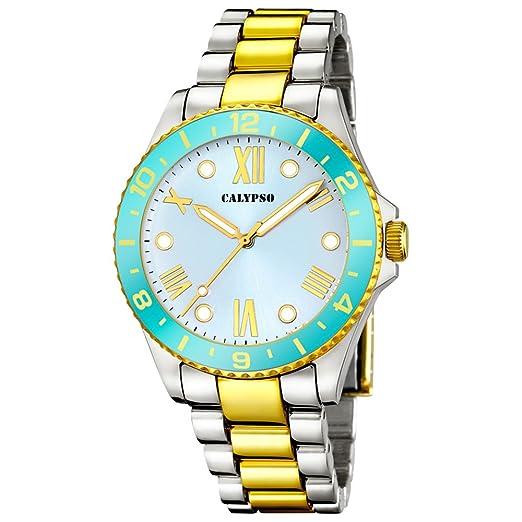 Calypso Watches K5651/1 - Reloj de mujer en color plateado y dorado, con bisel turquesa: Amazon.es: Relojes