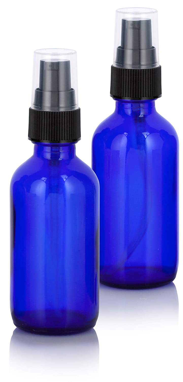 Cobalt Blue Glass Boston Round Treatment Pump Bottle - 2 oz (2 Pack)