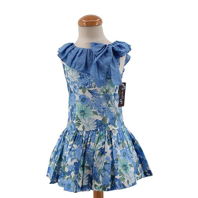CARMEN VAZQUEZ - Vestido Talle bajo, Estampado Floral en Tono Azules. (2 años