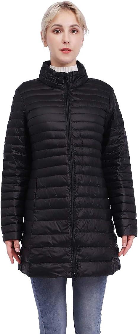ZOSLEY Women's Lightweight Long Down Jacket Thin Coat