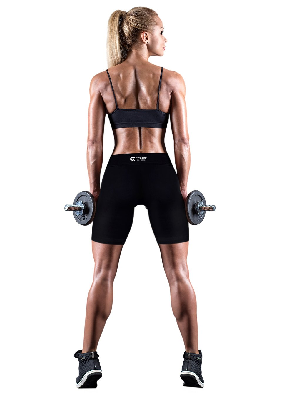 Copper Compression Womens Shorts/Yoga Hot Pants/Tight Shorts. Guaranteed Highest Copper Content. #1 Copper Infused Active Fit Athletic/Activewear/Athleisure Form Fitting Black Shorts - L