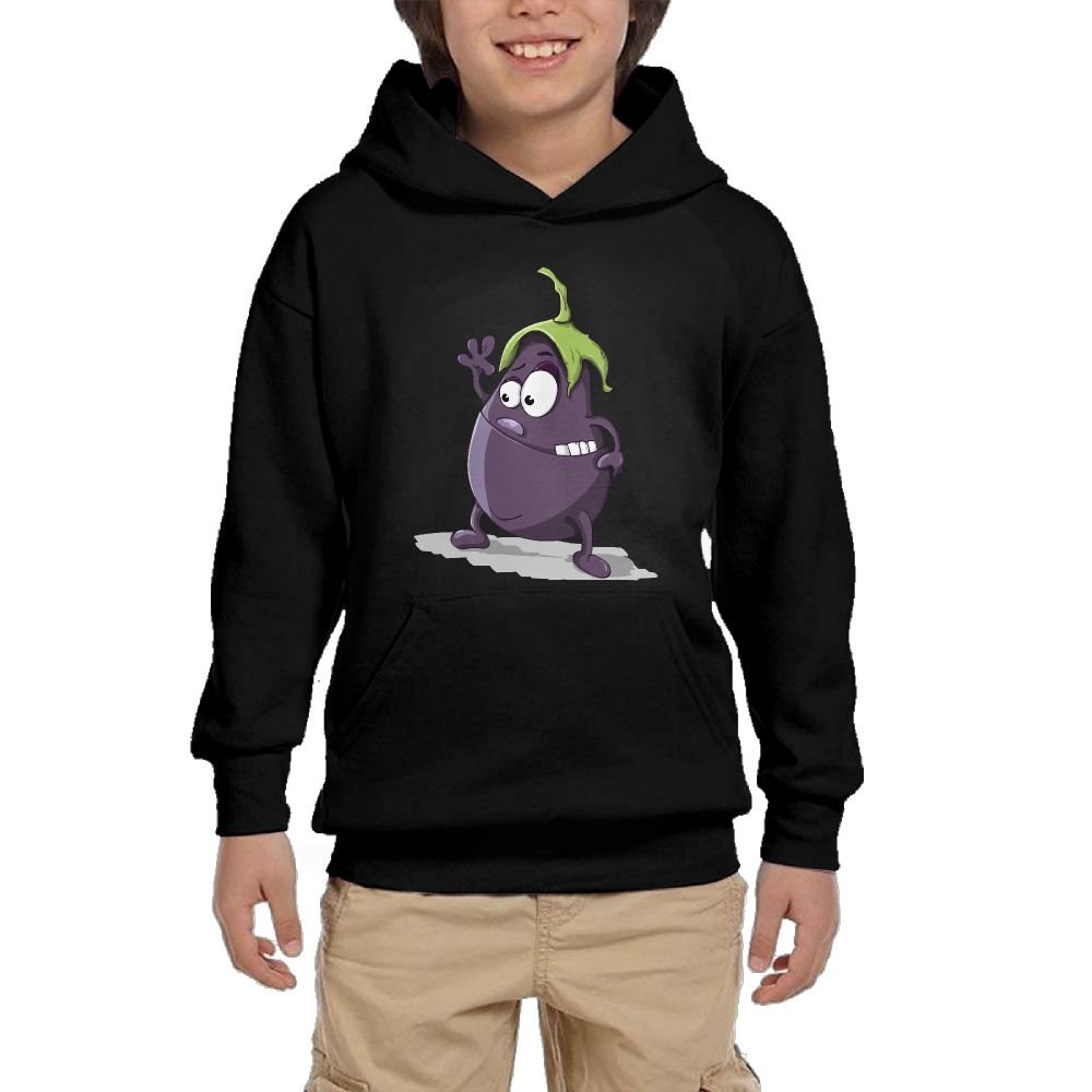GLSEY Waving Eggplant Pattern Youth Soft Pullovers Hooded Sweatshirts Long Sleeve