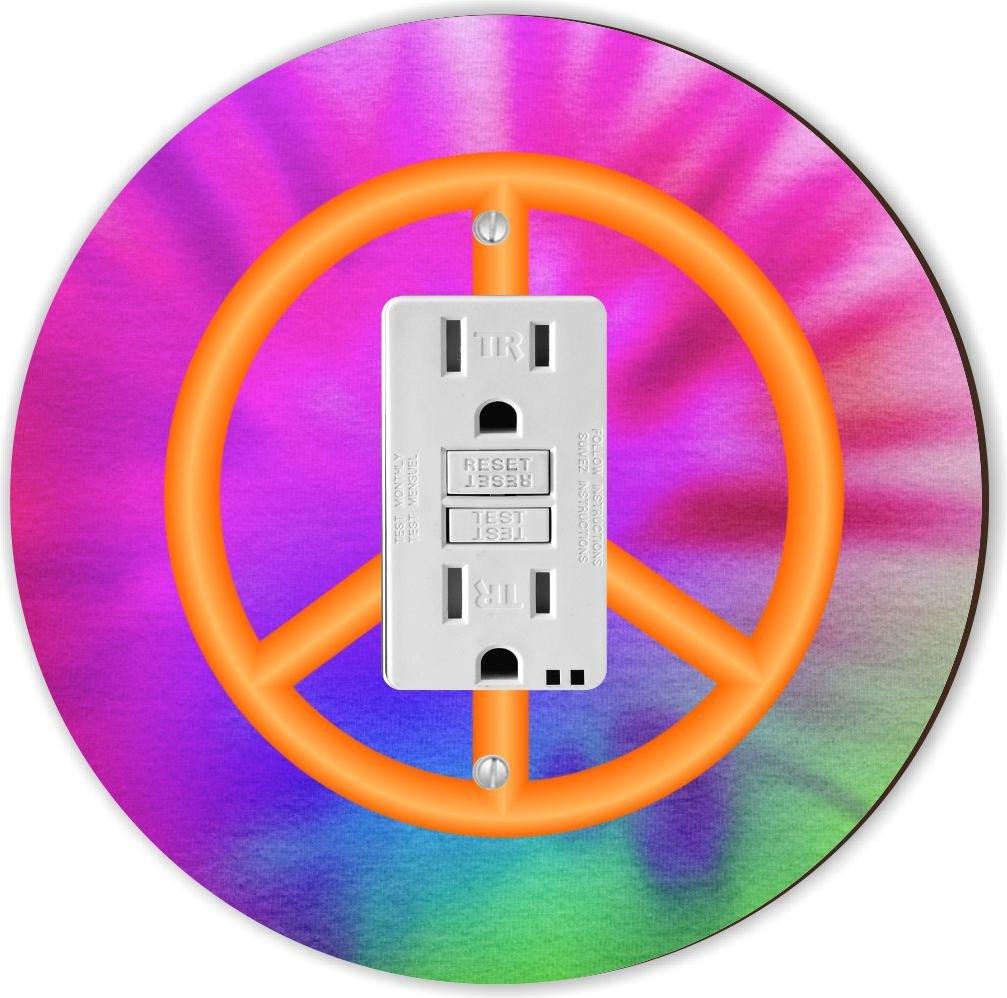 Orange Rikki Knight RND-GFISINGLE-118 Peace Sign on Tie Dye Round Single GFI Light Switch Plate